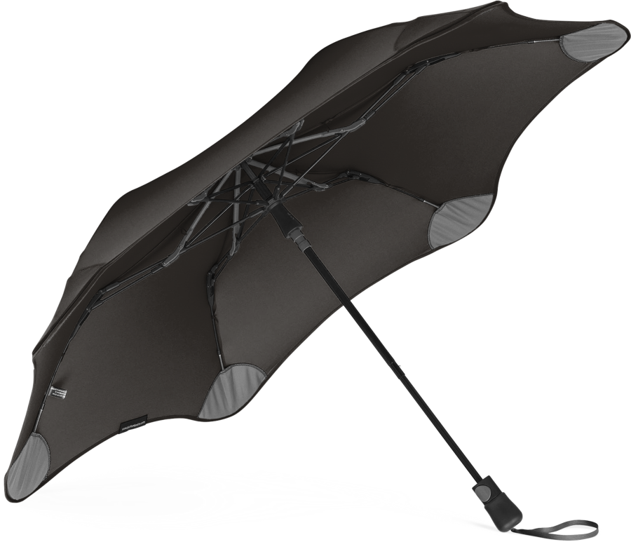 Product shot of the metro umbrella from the under in Black